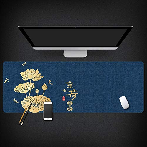 Muiskussen, Chinese stijl, Golden Lotus Plant Patroon, oversized waterdicht, antislip, gevoerd, muismat, toetsenbord, geschikt voor thuiskantoor, studietafel 40x90cm