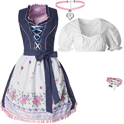 dressforfun 950014 Damen Trachtenset, 5-teilig, Blau Kariertes Dirndl + weiße Trachtenbluse mit Halskette, Armschmuck und Blumenkranz - Diverse Größen (Dirndl XXL | Bluse XXL | Nr. 350161)