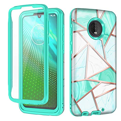 Hekodonk Compatible Moto Z4 Case,Moto Z4 Play Case Built in Screen Protector Heavy Duty High Impact PC TPU Bumper Full Body Protective Shockproof Anti-Scratch Cover for Moto Z4/Z4 Play-Marble Mint
