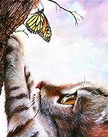 大人のための5Dダイヤモンド絵画キット動物猫クロスステッチダイヤモンド刺繡ラインストーン漫画モザイク手作りギフトウォールアートスクエアドリル30×40cm