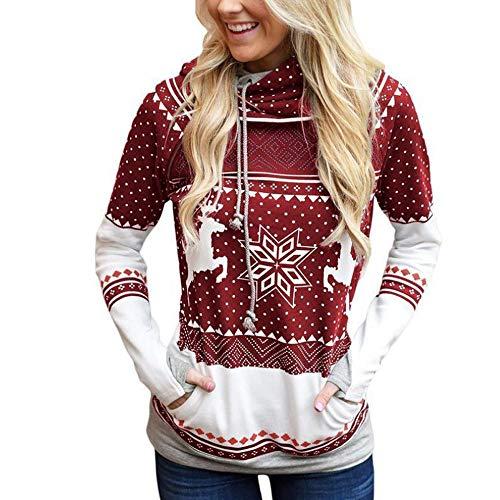 FRAUIT dames Kerstmis capuchonpullover Unisex 3D print hoodie sneeuwvlok bedrukt shirt met lange mouwen met Rudolph Reindeer sneeuwpop Kerstmis pullover voor heren en dames S-2XL