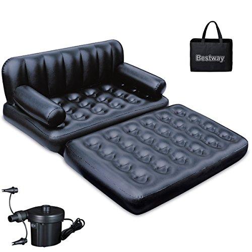 Colchón de aire Cama hinchable de sofá con bomba eléctrica de 5en 1de aire Cama 188x 152cm negro • con bomba Lounge invitados cama