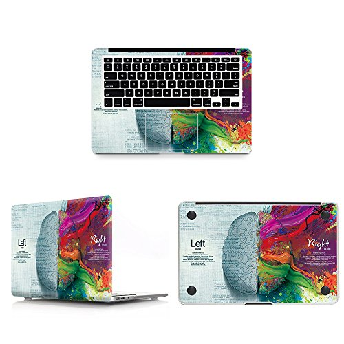 HRH 3 in 1 linke und rechte Gehirn-Vollkörper-Abdeckung Vinyl-Aufkleber Laptop-Aufkleber Handballenschutz für MacBook New Pro 13 mit Touch Bar A2159 A1706 A1989 (2019 2018 2017 2016 Release)