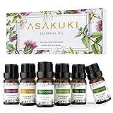 ASAKUKI Aromatherapy Essential Oils includes Lavender, Eucalyptus, Lemongrass, Tea Tree, Sweet Orange