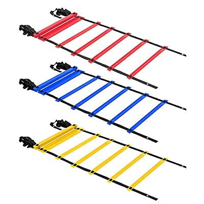 KMX ?3 Pack? 20ft Agility Ladder (Blue Red and Yellow) – Speed Agility Training Ladder with Two Carry Bags…