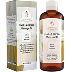 EDIBLE VANILLA MASSAGE OIL is a low viscosity oil blend with pure carrier oils that reduce muscle tension & boost mood with skin care benefits as it acts as a natural aphrodisiac for women & men. THERAPEUTIC OIL BLEND of coconut oil mixed with sweet ...