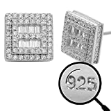 Real Solid 925 Sterling Silver - Men's Square Baguette Earrings - Iced CZ 10mm (3/8') Earrings Screw Backs - Flooded Out Aretes