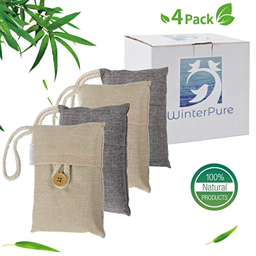 WinterPure Bamboo Charcoal Bags (4 Bags), Musty Odor Eliminator & Closet Deodorizer. Eliminate Odors Caused by Smelly Feet, Pets, and More! 100% Natural, No-Chemicals, Fragrance-Free!