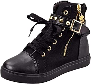 FORUU Fashion High-Top Solid Color Zip Sneakers Shoes Flat Canvas Women Shoes