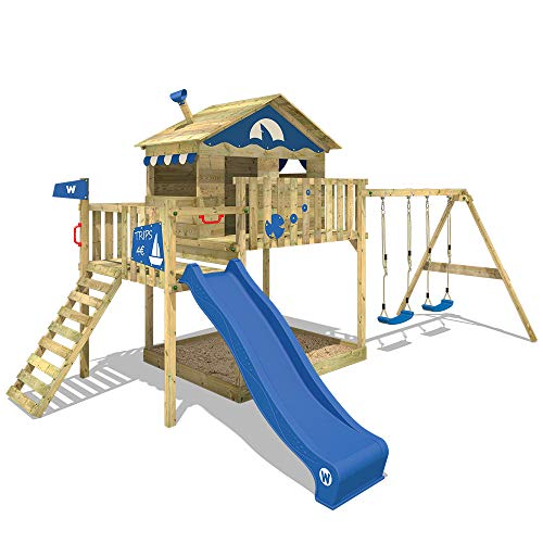 WICKEY Wooden Climbing Frame Smart Coast with Swing Set and Blue Slide, Garden Playhouse for Kids with Sandpit, Climbing Ladder & Play-Accessories