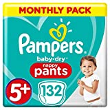 Pampers Baby-Dry Culotte à couches Taille 5+, 132 culottes à couches 12-17 kg