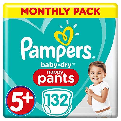 Pampers Baby-Dry Windelhose Größe 5+, 132 Windelhöschen, 12-17 kg, Monatspackung