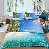 QFAZO Bedding Tagesdecke 3D Tropischer Pflanzen-Hawaii-Strandblick 220X230Cm Bettbezug Set Bettwäsche Set 1Teilig Bettbezüge Mikrofaser Bettbezug Mit Reißverschluss Und 2 Kissenbezug