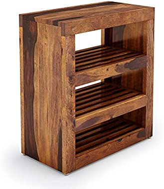 MH Decoart Sheesham Wood Shoe Cabinet with 3 Open Shelf for Home Hall Living Room Bedroom Wooden Shoe Rack Storage Entrance F