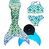 XonyiCos Costume da Bagno da Bambina con Coda a Sirena da Nuoto per Bambini (Green B, 120 (5-6 Years))