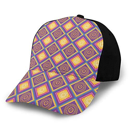FULIYA Gorra de béisbol para hombres y mujeres, mosaico étnico asiático con motivos culturales tradicionales, cuadrados diagonales, azulejo de rombo clásico, ajustable, llano