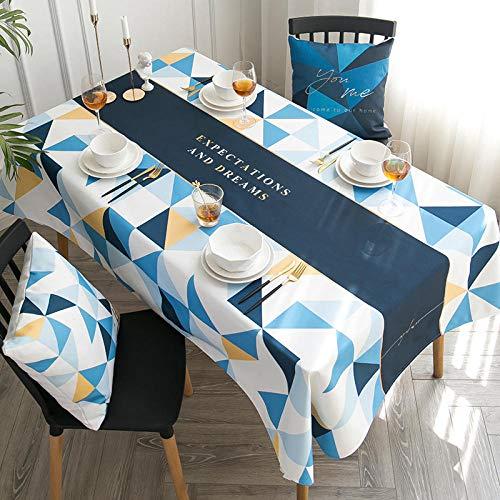 Ahuike Moderno Mantel Tipo Hule Encerado Rectangular Algodón y Lino Moderno y Sencillo Resistente Al Desgaste Impermeable Elegante Blanco Azul 140×220cm