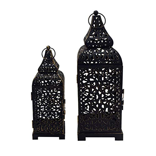 Rebecca Mobili 2 pz Portacandela Lanterne Marocchine Metallo, Nero, Candele Fiori, Terrazzo Salotto - Misure: 39 x 14,5 x 14,5 cm (HxLxP) - Art. RE6550