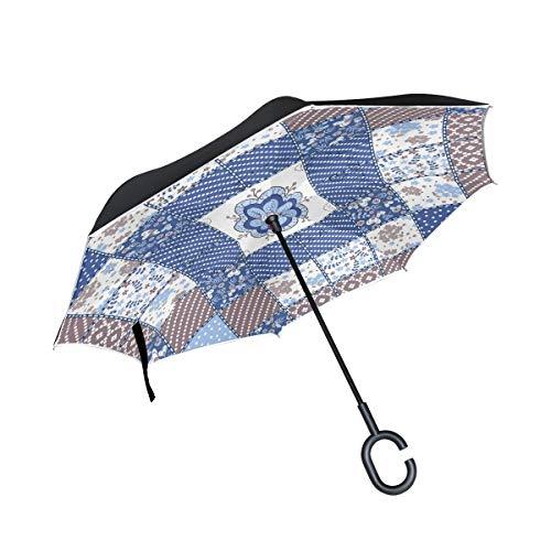 rodde Reverse Double Layer Inverted Umbrellas für Regen im Freien mit C-förmigem Griff Tisch Winddichtes Patchwork