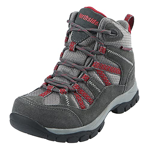 Northside Unisex Freemont Waterproof Hiking Boot, Dark Gray/red, 7 Medium US Big Kid