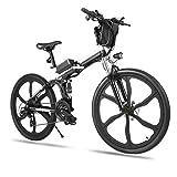 Bicicletta Elettrica Pieghevole, 26' mountain bike elettrica con motore da 250W 36V 8Ah batteria rimovibile, Professionale Shimano 21 velocità (Nero_1)