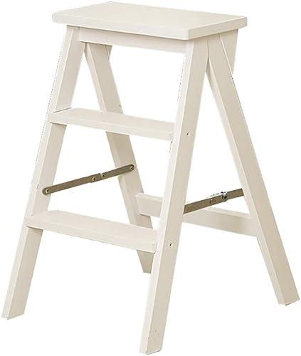 TH Klappstufen 3 Tier Step Massivholz Tritthocker Haushalt Faltenleiter Multifunktions Treppenhaus Indoor Mobile Klettern Sie die Leiter Home Take Things Schritt Hocker (Farbe   Weiß)
