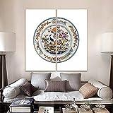 N / A Estudio Decorativo Moderno Minimalista imitación Azul y Blanco Mural de Porcelana Mural Combinado Sin Marco 80x140cm