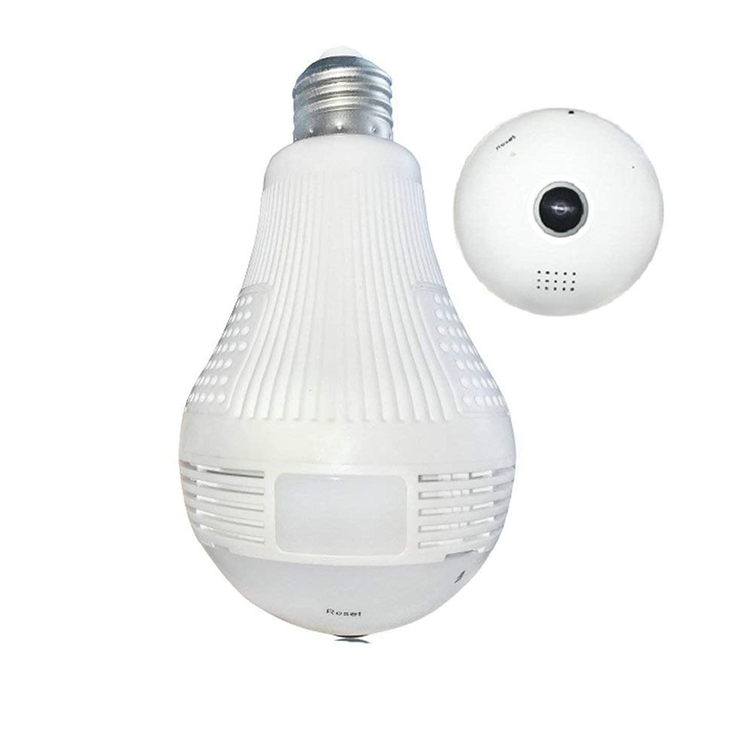WiFi Bulb Camera, Asunflower LED Light Security Camera 360° Panoramic Fisheye1080P Cam 2 Way Audio Wireless Network Camera Home & Outdoor Remote Security Surveillance (1080P)