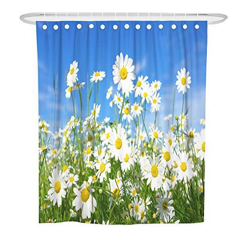 ChickwinDuschvorhangWasserdichtAnti-SchimmelShower Curtain Waschbar PolyesterBadezimmer Gardinenmit12DuschvorhangringefürBadezimmerDecor- 3DNatur Blumen (Blumenmeer,180x180cm)