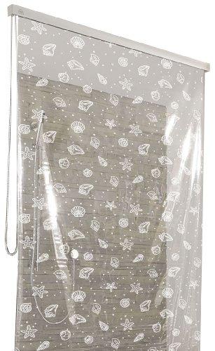 Kleine Wolke 3321114747 - Cortina de ducha enrollable para cassette vacío (128 x 240 cm), diseño de conchas, color blanco