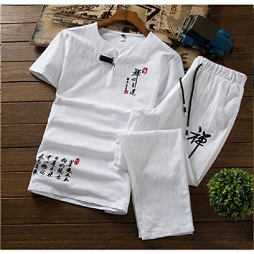 T-Shirt à Manches Courtes brodé Hommes et Cordon de Serrage Pantalons 5 Couleurs Peut-il Choisir Mouvement d'été Leisure Suit Hommes Hyococ (Color : White, Size : 5XL)