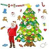 HapagToy Feltro Albero Natale, 3.28ft Albero Natale 50 luci a LED + 32 Piccoli Ornamenti della Staccabili + 1 Banner di Natale Decorazioni per Pareti di Porte Regalo di Natale per Bambini