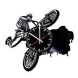 BMX Vinyle Horloge Murale - Vélo Moto Cadeau d'anniversaire De Mariage De Noël...