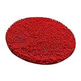 Sharplace Alfombra Absorbente Redonda Agua Absorbente Complimentos Decorativo de Casa Oficina Restaurante Cómodo - Rojo, 60cm