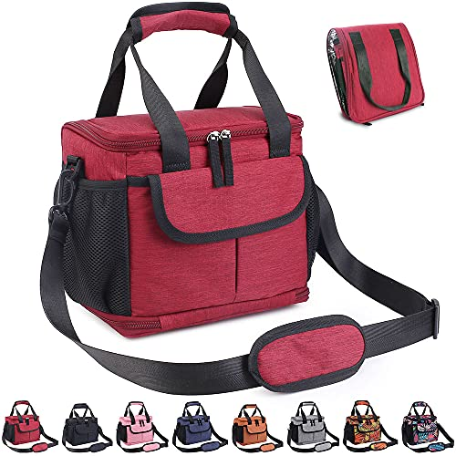 VENLING Insulated Lunch bag for Work Collapsible Lunch Tote Cooler Bag with 2 Bottle Holders Foldable Lunch Bags for Women Men Adult Reusable Lunch Box for School Office Beach Hiking, Red