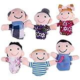 Youmine Juego de 6 Marionetas de Dedo - Familiares Incluyen Madre, Padre, Abuelo, Abuela, Hermano, Hermana con Lazo de Cable