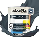 colourPlus® 2in1 Buntlack (750ml, RAL 7016 Anthrazitgrau) seidenmatter Acryllack - Lack für Kinderspielzeug - Farbe für Holz - Holzfarbe Innen - Made in Germany