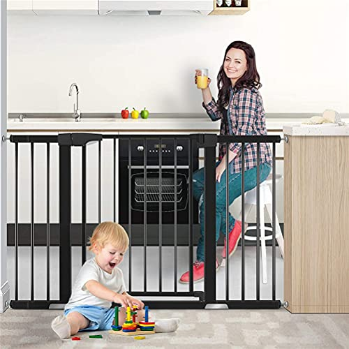 Safety Gate For Baby Kids And Pets, Unique 90° Two Way Open/Stay Door, Metal Gate With Walk Through Door, Pressure Mount Auto Close, With Double Locking Mechanism Feature, 30' Tall, Black