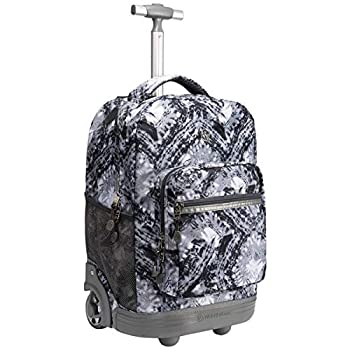WEISHENGDA 18 inches Wheeled Rolling Backpack for Boys and Girls School Student Books Laptop Travel Trolley Bag Gray