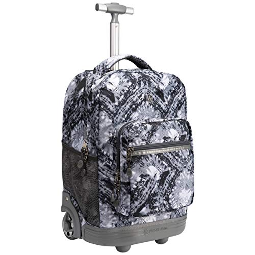 WEISHENGDA 18 inches Wheeled Rolling Backpack for Boys and Girls School Student Books Laptop Travel Trolley Bag, Gray