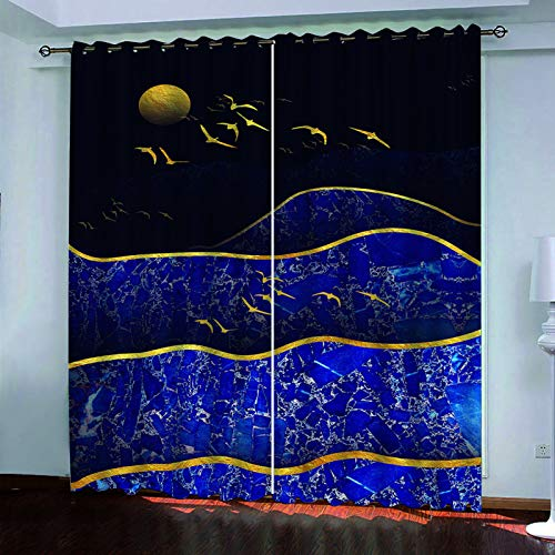 Nordic 3D Landscape Printing Curtains Household Goods Modern Style Kitchen And Bedroom Blackout Curtains Polyester Waterproof And Durable (2 Pieces)