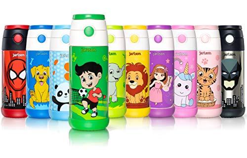 JARLSON® Trinkflasche Kinder - Thermo Edelstahl Wasserflasche 350ml - BPA frei - auslaufsicher - Kinderflasche mit Strohhalm - Flasche für Schule, Kindergarten, Fahrrad (Fußball, 350 ml)