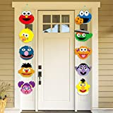 PANTIDE Sesame Party Decorations | Sesame Cutouts Door Sign Porch Sign | Hanging Flags Banners for Outdoor and Indoor Home Wall Decor | Elmo Monster Big Bird Ernie Oscar Inspired Party Supplies