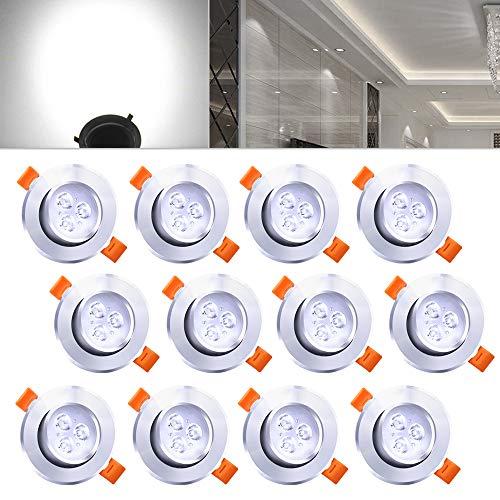 Hengda® 12X 3W LED Spot Einbauleuchte Strahler SMD Decken Lampe 6000-6500k Kaltweiß AC 230V +Treiber