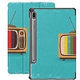 Estuche para Galaxy Tab S7 Estuche Delgado y liviano con Soporte Estuche para Samsung Galaxy Tab S7 Tableta 11 Pulgadas Sm-t870 Sm-t875 Sm-t878 2020 Lanzamiento, Televisión Antigua Estilo Vintage