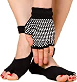C.X Trendy Yoga Pilates Socks and Gloves Set, Cotton and Non Slip (One size, Black (group 3))