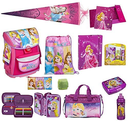 Scooli Schulranzen-Set Disney Princess Prinzessin-nen nur 820 Gramm 17-tlg. mit Brotzeit-Dose, Trink-Flasche, Sporttasche, Schultüte 85cm und Regenschutz Mädchen-Schulranzen ab der 1. Klasse