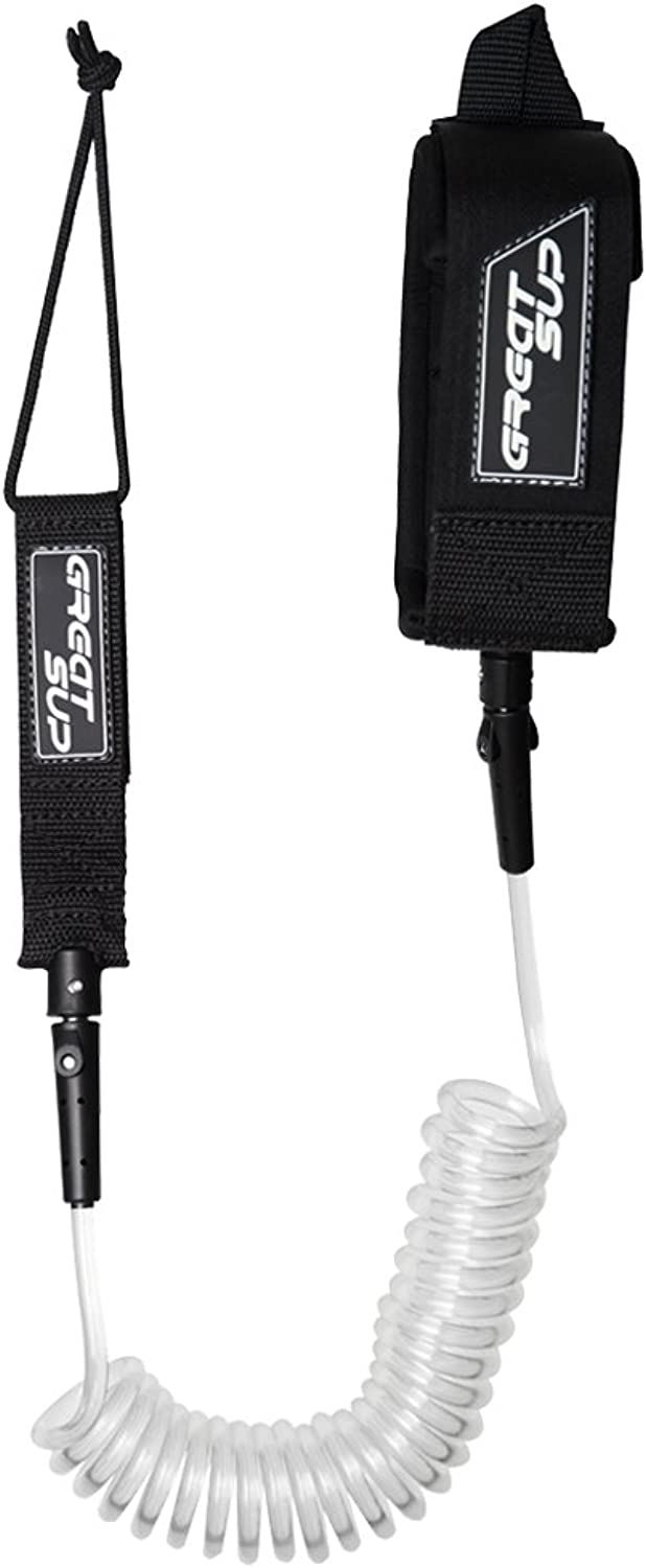 Great SUP 10' Coiled SUP Leash  Double Stainless Steel Swivels and Triple Rail Saver