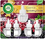 Air Wick Plug in Scented Oil 5 Refills, Ripe Cranberry And Currants, Fall scent, Fall spray, (5x0.67oz), Essential Oils, Air Freshener, Packaging May Vary