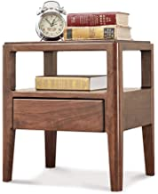Bedside Table-All Solid Wood Bedside Table Black Walnut Lamp Table Simple Single Drawer Small Cabinet Bedroom Furniture